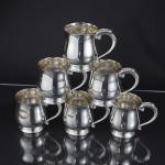 Set six silver pint mugs