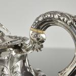Antique melon pattern silver teapot