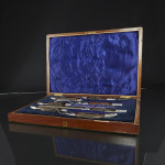7-piece silver-plated antler carving set