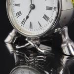 Rare antique silver horse clock