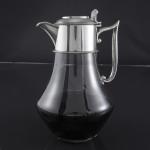 Antique silver & glass wine jug