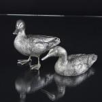 Large silver mallard duck