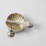 Set four silver & gilt salt shells
