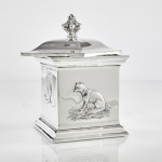 Hunting theme silver tea caddy