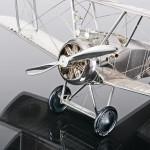 Silver model Sopwith Camel biplane