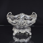 Large antique silver mounted crystal bowl