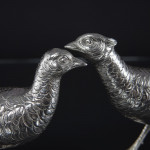 Pair hand-chased continental silver pheasants