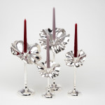 Flor silver candlestick - extra large