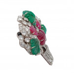 A Mauboussin Tutti Frutti Carved Emerald, Ruby & Diamond Brooch
