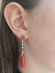 A Pair of Art Deco Coral, Pearl & Diamond Pendant Earrings