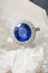 A Natural Sri Lankan Sapphire & Diamond Cluster Ring