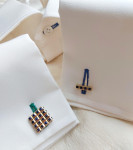 A Pair of Sapphire & Gold Cufflinks by Tiffany & Co.