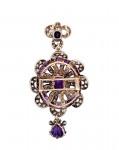 A Victorian Amethyst & Diamond Set Pendant