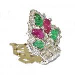 A Pair of Mauboussin Tutti Frutti Carved Emerald, Ruby & Diamond Clips