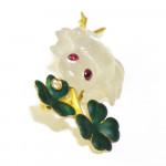 A Carved Moonstone, Ruby & Enamel Frog Brooch