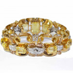 A Yellow Sapphire, Topaz & Diamond Bracelet