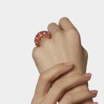 A Cartier Coral & Diamond Ring