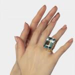 An Aquamarine & Diamond Ring by Julius Cohen