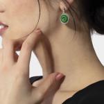 A Pair of Natural Jade & Diamond Circular Earrings