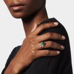 An Emerald & Diamond 'Toi et Moi' Cross Over Ring