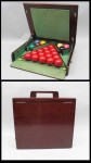 Vintage Snooker Balls In Mahogany Case