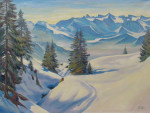 Winter Landscape, Oil on Canvas by R.S.P