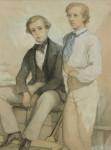 Cricket watercolour. A portrait of 2 boys (Arthur and Kenneth Deighton)