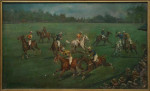 """Oil painting of a Polo scene by Cuthbert Bradley, A Polo Match. """""""