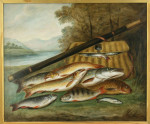 FISHING OIL PAINTING, FISH ON THE RIVERBANK, EWARD COLEMAN.