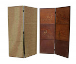 Antique leather four fold screen.