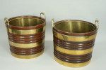 A Fine Pair of Rare Irish Peat Buckets in Mahogany and Brass