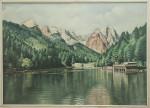 Vintage Oil Painting of Rissersee, Garmisch Partenkirchen, Grainau