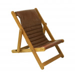 Leather and Oak Deck Chairs