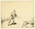 Out of the Bunker, Golf Etching by John R. Barclay