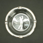 Glass & Silver Overlay Golf Ashtray