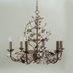 Chandelier, Bronzed Metal Leaves, Six Bulbs
