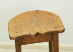 Antique Oak Bar stool with shaped seat.