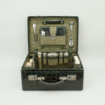 Crocodile Vanity Case with Silver Fittings