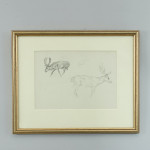 Michael Lyne Sketch of Stags and Rider on Horse