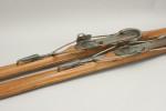 Vintage Ash Skis, Kandahar Bindings with Ski Poles