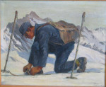 Antique Ski Painting, Hans Jemueller, Munich