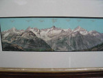 Panoramic coloured photograph of the Swiss Alps