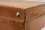Vintage Leather Suitcase With Cream Interior. Great For Vintage Motoring