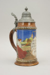 German Antique Tennis Beer Stein with Pewter Lid.