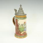 Antique German Tennis Beer Stein with Pewter Lid.