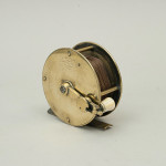 Antique Brass Fishing Reel With Folding Crank Wind Handle By Bernard