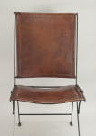 Set of 10 Continental Steel Framed Leather Covered Folding Chairs