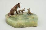 Equestrian Desk Piece, Vienna Bronze Foxes,  Cold Painted, Horseshoe.