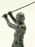 Antique Golf Figure, Statue Of A Boy Golfer In Full Swing.