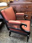 Regency ebonised bergere chair